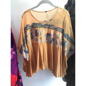 Free People Embroidered Yellow Blouse S